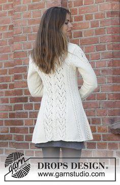 Ravelry: Ice Dancer pattern by DROPS design Ladies Cardigan Knitting Patterns, Aran Knitting Patterns, Knit Cardigan Pattern, Baby Dress Patterns, Crochet Jacket, Lace Jacket, Crochet Cardigan, Lace Knitting, Knit Patterns