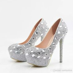 Glitter Wedding Shoes 2017 Crystals Beads Pumps High Heels Bridal Shoes 5cm  8cm 11cm 14cm Bling Bling Prom Shoes For Lady Gold Wedding Shoes Online Shoe  ... 1e3b7f5f0b24