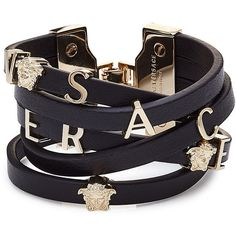 Versace Leather Wrap Bracelet ($375) ❤ liked on Polyvore featuring jewelry, bracelets, black, versace, leather bangles, leather wrap bracelet, wrap bracelet and versace jewelry