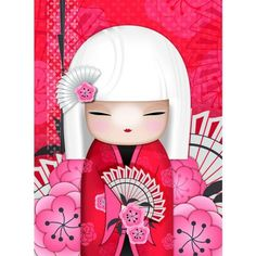 """✿ Kimmidoll Illustration ~ """"Saya"""" 'Affectionate' ✿ """"My spirit is warm and generous. With your warm-hearted and tender nature you share my spirit. May your gentle and generous affection endear you, and bring you close to those you love."""""""