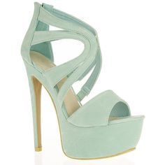 Mint Faux Suede Cut Out Strappy Platform Shoes ($25) ❤ liked on Polyvore featuring shoes, sandals, heels, zapatos, mint green shoes, cut out sandals, mint sandals, platform sandals and strappy shoes