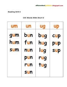 Worksheets Long U Sound Word List long vowel word lists cvce and other vowels pinterest reading drill consonant cvc words with short u sound