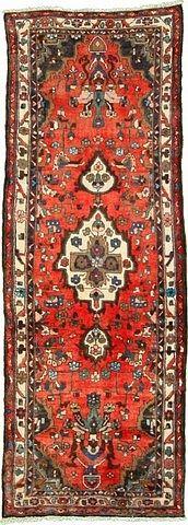 3' 6 x 9' 6 Red Hamedan Persian Runner
