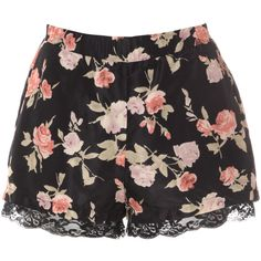 Glamorous Black Silky Rose Print Shorts ($28) ❤ liked on Polyvore featuring shorts, bottoms, multi, floral shorts, black shorts, elastic waist shorts, silk shorts and floral printed shorts
