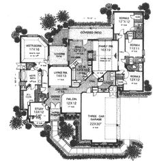 Style House Plans - 3070 Square Foot Home , 1 Story, 4 Bedroom and 3 Bath, 3 Garage Stalls by Monster House Plans - Plan 8-620