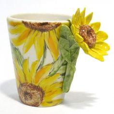 Sunflower Ceramic Mug 3D Coffee Cup Handmade Painting Home Decor | madamepomm - Housewares on ArtFire