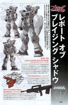 The RGM-79N GM Custom (Silver Haze) is a mobile suit from the Mobile Suit Gundam: The Blazing Shadow light novel.