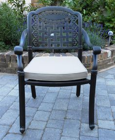 The Elizabeth range features comfortable armchairs complete with Piped and Zipped Cushions resulting in an extra comfortable and supportive chair. The Chairs and Table are built from sturdy Cast Aluminium which cannot rust and will provide many years of service with basic maintenance such as cleaning with warm soapy water. #garden #gardenfurniture http://www.katieblake.co.uk/