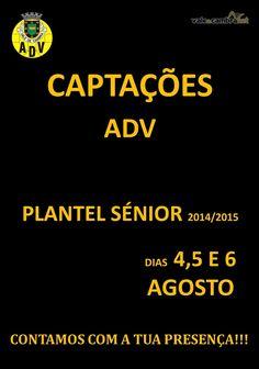 Futebol: Captações ADV | Plantel Sénior 2014/2015 > 4, 5 e 6 Ago 2014  #ValeDeCambra #futebol