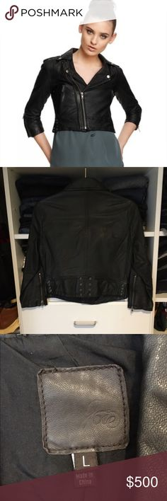 "Joie ""Dolores"" Leather Jacket 100% lamb leather. Lining 100% silk. Zip front closure, zip front pockets, tabbed shoulder seams, zipper sleeves, grommet accents, classic black color. This jacket retailed for $898. It is sold out. I only wore it once and is in excellent condition! It's an amazing jacket! Always open to negotiating. Joie Jackets & Coats"