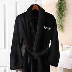 21d4ccf279 Men s Personalized Spa Robe - Black Microfleece - 8057 Best Gift For  Husband