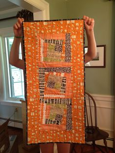 Scrappy table runner using mummysam. Orange Quilt, Quilting Ideas, Cheddar, Table Runners, Shapes, Quilts, Colour, Blanket, Simple