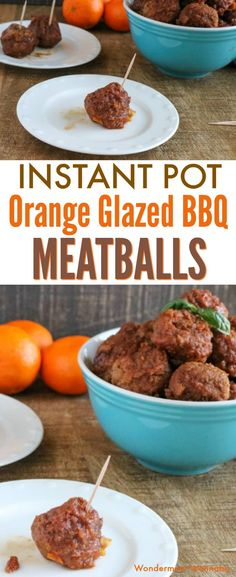 These orange glazed BBQ meatballs are so yummy! And they're also super easy to make in your Instant Pot. #instantpot #easyappetizer #kidfriendly via @wondermomwannab