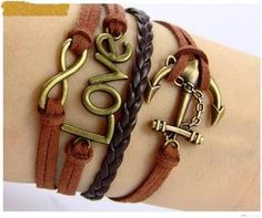 love romantic password anchor Hand-knitted leather cord multi-layer bracelet [kz101] - $7.19 : Fasion jewelry promotion store,Supply all kinds of cheap fashion jewelry