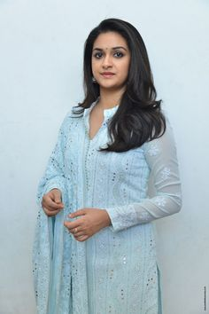 Keerthy Suresh Stills at Mahanati Film Interview. Keerthy Suresh donned a pastel blue chikankari palazzo suit which she styled it with a pair of silver oxidized jhumkis and silver kolhapuri chappals. Palazzo Suit, Artists For Kids, Malayalam Actress, She Movie, Beautiful Bollywood Actress, Bindi, South Indian Actress, Pastel Blue, S Pic