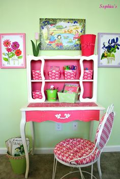 What a gorgeous desk and pink chalk paint! You have to see the before photo!