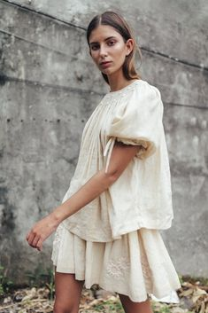 Unique, hand crafted smocks and dresses designed by Innika. Tennis Fashion, Love Fashion, Fashion Looks, Fashion Outfits, Fashion Design, Vintage Couture, White Outfits, Fashion Plates, Playing Dress Up