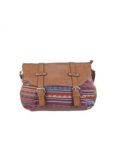 Adjustable Faux Leather Messenger Bag with Tribal Pattern,  Bag, faux leather  tribal pattern, Bohemian (Boho) / Hippie