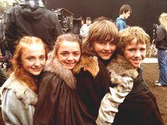 The Stark kids on set during a break in filming, season one.