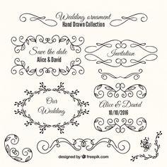 Odmiana rysowane ręcznie ozdoby i ramki ślubne Darmowych Wektorów Wedding Ornament, Photo Album Scrapbooking, Save The Date Invitations, Vector Free, How To Draw Hands, Logo Design, Bullet Journal, Ornaments, Post