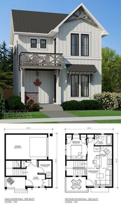 The small home plan design incorporates the comfort and functionality of the Modern Farmhouse Style. Best suited for a unique lot with side access, t Tiny House Plans, House Floor Plans, Small House Plans Under 1000 Sq Ft, Small Home Plans, Tiny Home Floor Plans, Narrow Lot House Plans, Basement Floor Plans, Architecture Design, Stairs Architecture