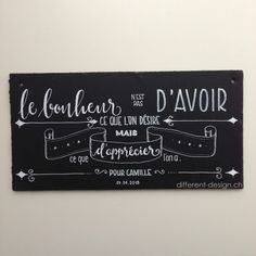 Geburtstagsgeschenk mit französischem Charme (Echtschiefer, handbeschriftet)