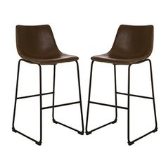 Glitzhome Mid-century Modern Vintage Brown Leatherette Bar Stool (Set of (Faux Leather)