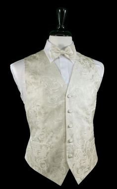 Tapestry Pattern Silk Tuxedo Vest (White) - Silk White Tapestry Pattern Tuxedo Vest Silk Full Back Design 5 Button Front Faux Pockets Available in Sizes Long Sizes Available for Gentlemen and Taller Wedding Vest, Tuxedo Wedding, Wedding Suits, Wedding Attire, Wedding Tuxedos, Wedding Bells, Groom Vest, Custom Tuxedo, Groomsmen Tuxedos