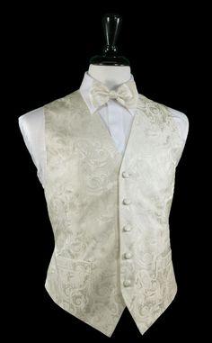 Tapestry Pattern 100% Silk Tuxedo Vest in Ivory
