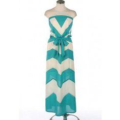 Chevron Strapless Maxi Dress $39.99