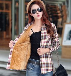 Velvet Thick Warm Women's Plaid Shirt Female Long Sleeve Tops Plus Size Winter Check Blouse Blusas Femininas Chemise Femme