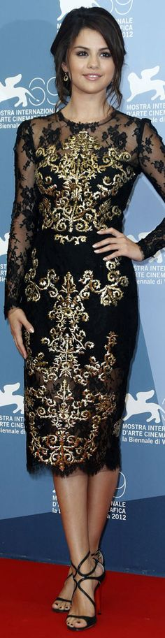 Selena Gomez cocktail dress #black #gold #lace #elegant #chic #fashion