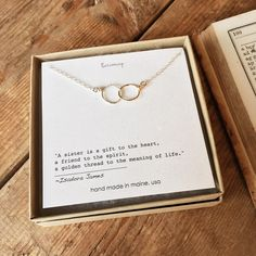 Unique Gifts for Sisters, Meaningful joine rings necklace with sister quote from Becoming