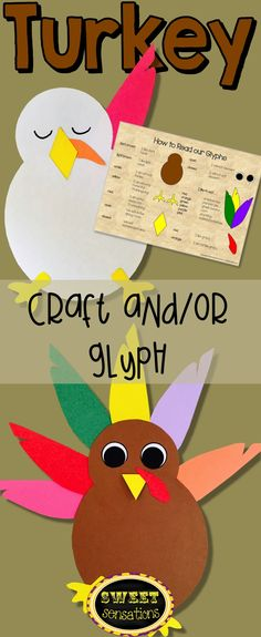 It's Turkey time! Get your students into the Thanksgiving spirit with this fun and simple math glyph turkey craft, that also can be used without the glyph to make an eye-catching bulletin board display, or can be attached to sentence strips to make holiday hats!