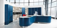 Smooth flowing natural forms seen in the concave Midnight Blue Satin Lacquer curved kitchen design. Blue Kitchen Decor, Kitchen Interior, Design Kitchen, Luxury Kitchens, Cool Kitchens, German Kitchen, French Kitchen, Restaurant Chairs, Küchen Design