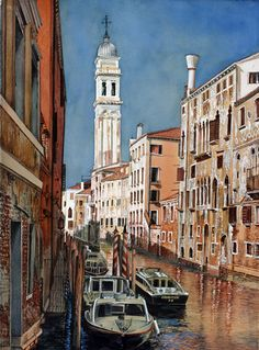 """Soon Y. Warren  Venice Tower    Image Size: 30"""" x 22""""    Transparent Watercolor on Paper"""