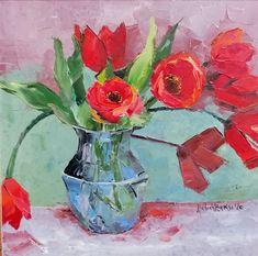 Este vremea lalelelor ... și normal că avem 😊 Lalele roșii în vas transparent, ușor stilizate, după un model ce l-am mai lucrat dar la care s-au adus îmbunătățiri la contrast și complexitate. Culoarea florilor, deasemenea, este specială. Mai, Spring Flowers, Model, Painting, Scale Model, Painting Art, Paintings, Painted Canvas
