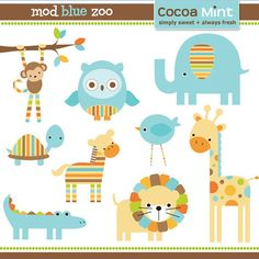 """Party Pack SALE - Orange Brown Blue Mod Jungle Zoo """"It's a Boy"""" or """"It's a Girl"""" Banner, 12 Toppers, 12 Favor Stickers & Door Sign. $56.00, via Etsy."""