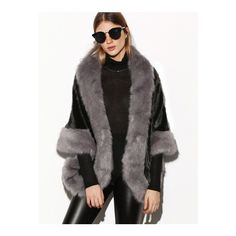 SheIn(sheinside) Color Block Faux Fur Poncho Coat (£52) ❤ liked on Polyvore featuring outerwear, coats, poncho cape, fake fur coats, poncho coat, short coat and color block coat
