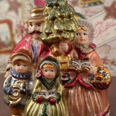 Caroling family ready for Christmas  #glassornaments #carolers #germanglassornaments #oldworldchristmas #shabbychic #vintagetreasures #vintagechristmas
