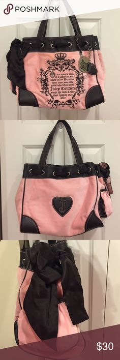 """NWOT Juicy Couture Tote Purse This purse is in prestige condition. It is a light pink with leather and silver hardware. The purse has the Juicy story in the front along with a metal badge that says """"Royal juicy"""" with a brown leather heart. The stitching is all pink. Juicy Couture Bags Shoulder Bags"""