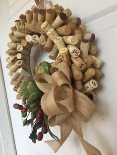 Wreath made of wine corks decorated for the fall