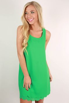 This simple, jade shift dress is both timeless and flattering!