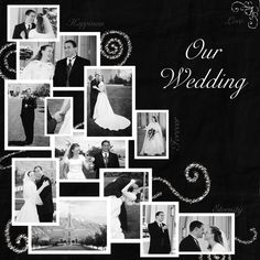 wedding scrapbook - another way to add a collection of photos...I would add a few with the other color being used...just in spots...like the bouquet, the swirls or the words