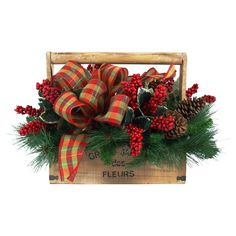 Faux pine branch and berry arrangement in a wood tool box with ribbon accents. Primitive Christmas, Rustic Christmas, Christmas Holidays, Christmas Wreaths, Christmas Floral Arrangements, Christmas Centerpieces, Xmas Decorations, Holiday Tablescape, Christmas Projects