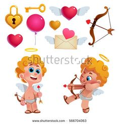 Vector set of cute cupids and items for Valentine's Day. Heart, envelope, love letter, and other elements.