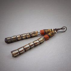 tribal earrings • artisan textured ceramic sticks • earthy earrings • rustic beads • raw copper • elongated earrings • ethnic jewelry • aged by entre2et7 on Etsy