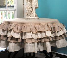 Ruffled burlap table cloth