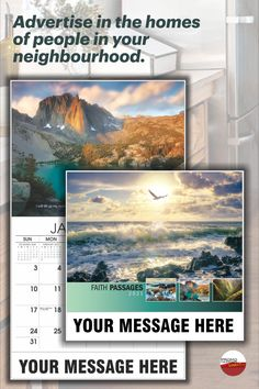 """Build brand awareness in your area with quality 10""""x18"""" - 13 month wall calendars printed with your name and logo - low as 65¢/ea. Inspirational images with quotes from the King James Bible. Wall Calendars, Biblical Inspiration, King James Bible, Print Calendar, I School, Christian Faith, Ea, The Neighbourhood, Inspirational"""