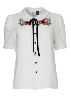 June White Embroidered Blouse | Floral Peter Pan Collar Top | Joanie